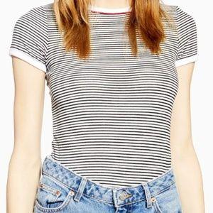Topshop Womens Black/white Stripe Piping Shirt